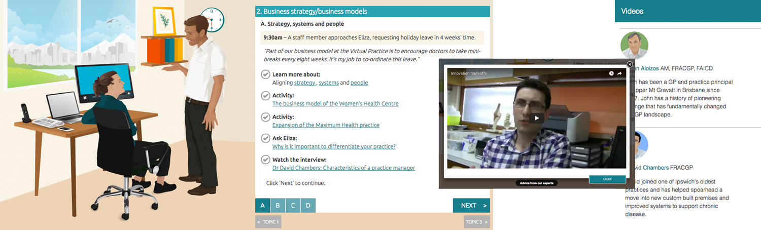 Scenario-based elearning screens